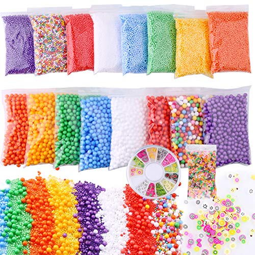 Slime Foam Beads Floam Balls - 18 Pack Microfoam Beads Kit 0.1-0.14 and 0.28-0.35 inch (70,000 Pcs) Colors Rainbow Fruit Beads Craft Add ins Homemade DIY Kids Ingredients Flome Styrofoam ()