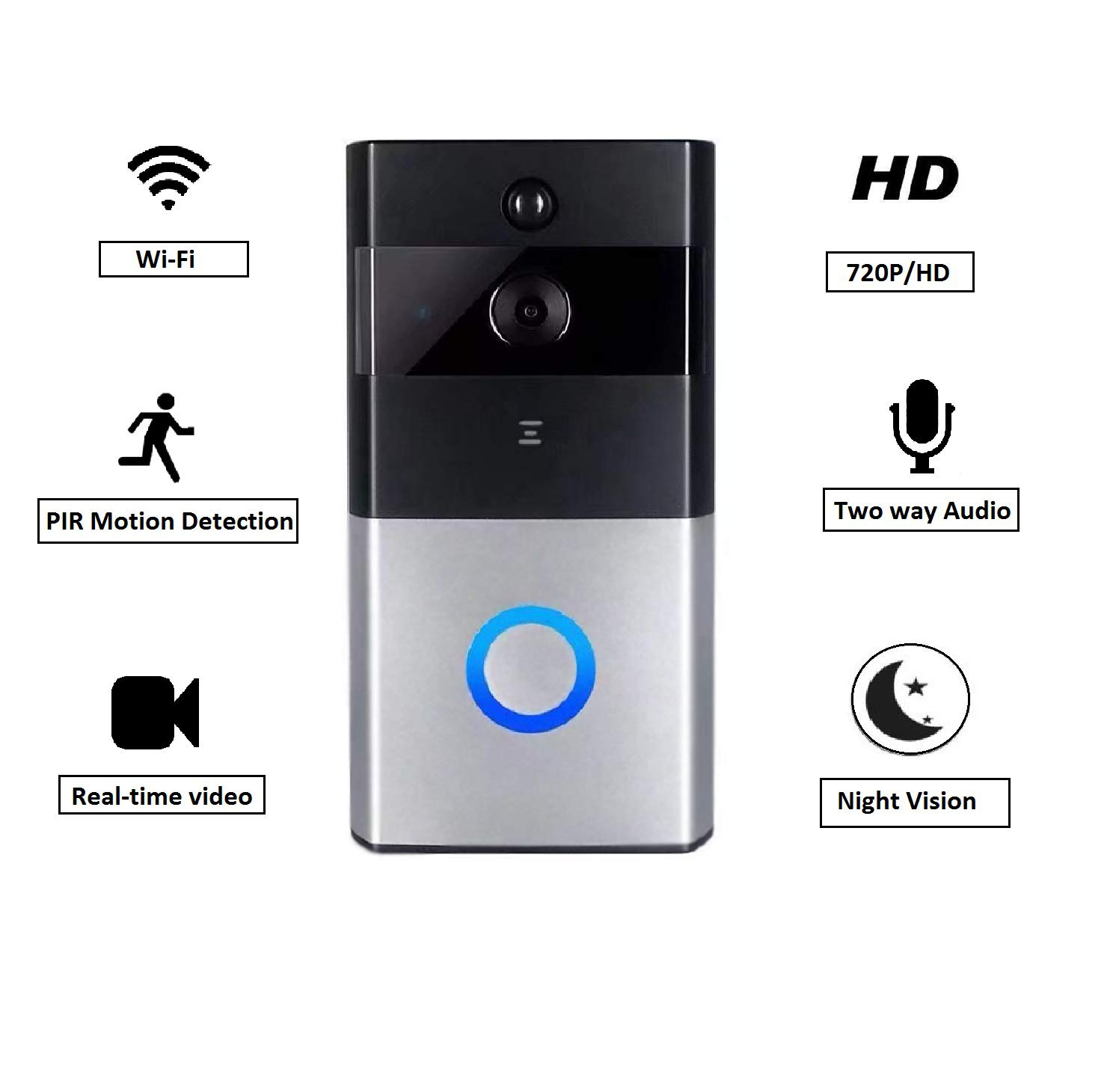 EXOX Video Doorbell WiFi Smart Doorbell 720P HD Wireless Doorbell, Real-Time Security Camera Doorbell,PIR Motion Detection and App Remote Control for IOS and Android