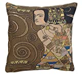 Home Furnishings, L'Attente - Klimt Nuit, French Tapestry Cotton Throw Pillow Case, Hand Finished Decorative Cushion Cover, 18 by 18 Inch