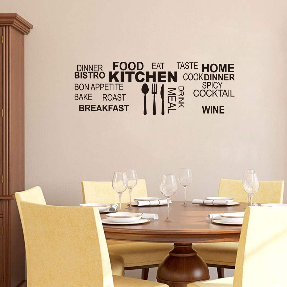 Kitchen Wall Decals for Home Decor Food Funny Stickers Black Quotes Sticker Peel and Stick Waterproof Girls Boys Tile Window Glass Letters Vinyl Cool Decal Family Decoration Art Removable