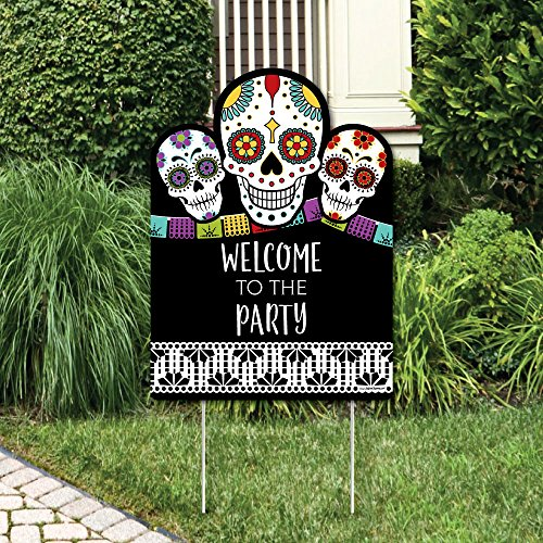 Day of The Dead - Party Decorations - Halloween Sugar Skull Party Welcome Yard Sign -