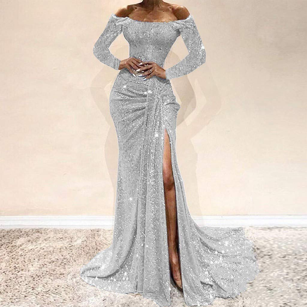 KAIXLIONLY Womens Off Shoulder Sequin Evening Party Maxi Dress High Split Long Formal Evening Prom Gown