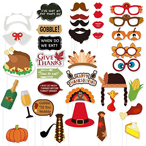 FRIDAY NIGHT 38PCS Thanksgiving Day Photo Booth Props Colorful for Festival Party Supplies,Turkey Creative Decorations Kit