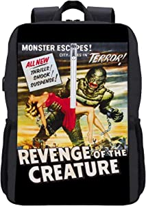 Revenge of The Creature Movie Poster Backpack Daypack Bookbag Laptop School Bag with USB Charging Port
