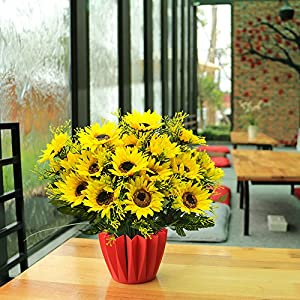 Grunyia Artificial Flowers Fake Sunflowers, 4PCS Faux Silk Flowers Floral Table Centerpieces Arrangements Home Kitchen Office Windowsill Hanging Spring Decorations 2