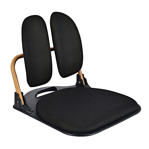 Portable Floor Chair, Zenlink Padded Back Frame, Comfortable and Versatile Folding Chair with Adjustable Angle Back-Rest for Meditation, Yoga, Reading, TV Watching or Gaming, Relaxing, Black