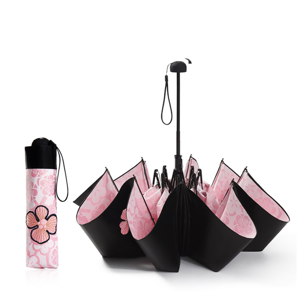 Guoke Sunscreen Uv Protection Umbrellas Vinyl Two Fold Umbrella With A Fine, Pink by Guoke (Image #2)