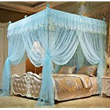 Mengersi 4 Corners Bed Curtain Canopy Mosquito Netting For Girls Bed Canopies Child Gift (Queen, Sky Blue)
