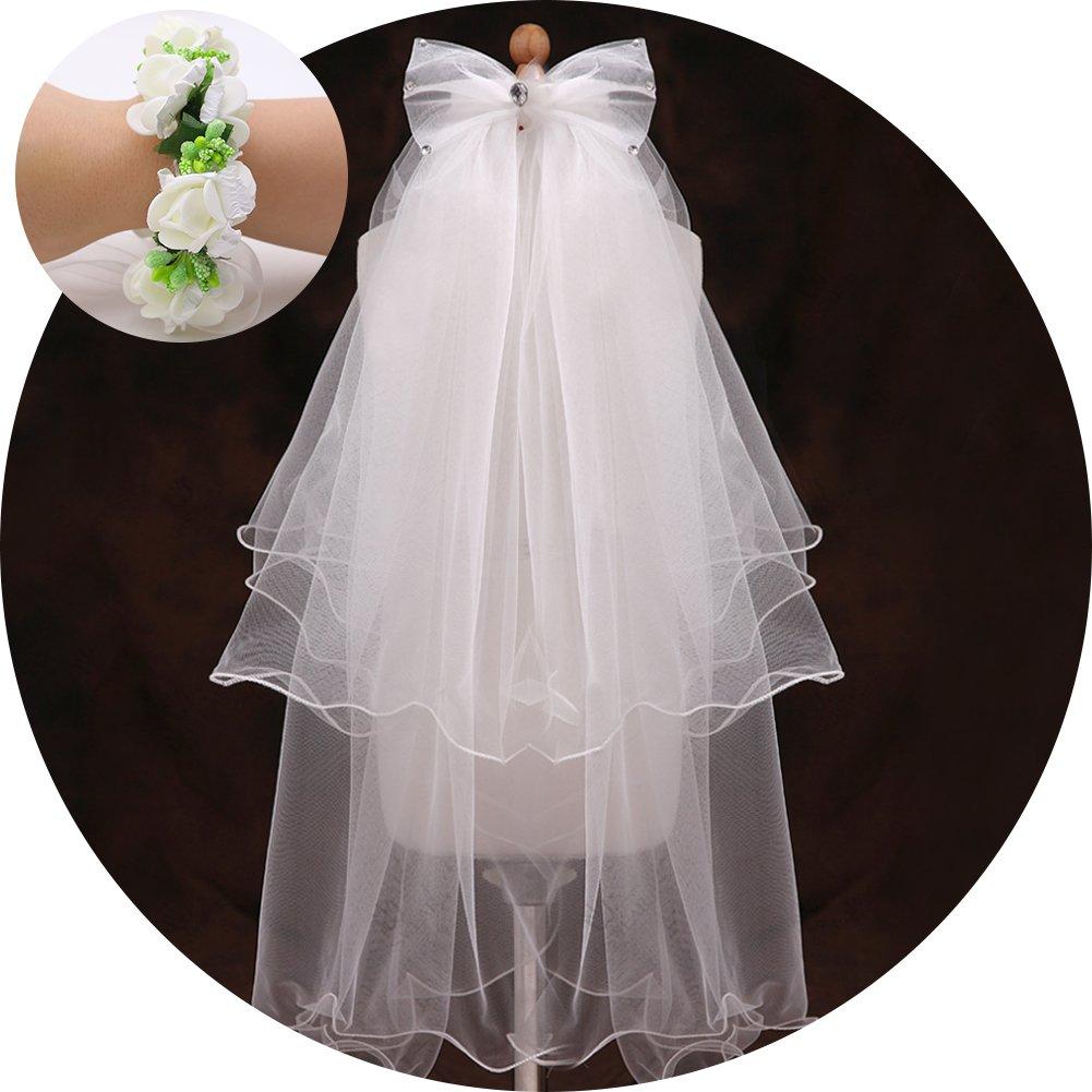 Flower Girl Veil, Children's Wedding Veil First Communion Veils with A White Garland