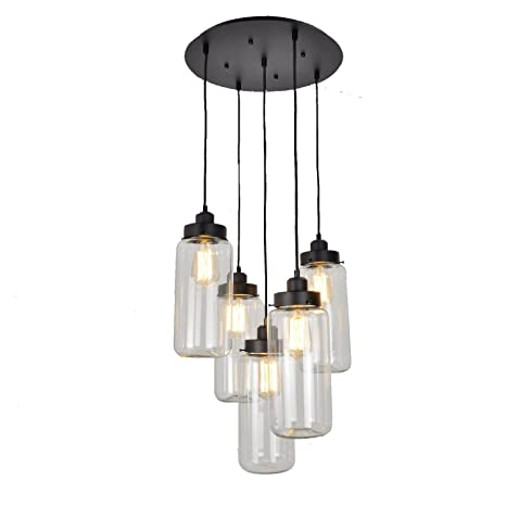UNITARY BRAND Vintage Large Glass Jar Pendant Light Max 300W With 5 Lights  Painted Finish