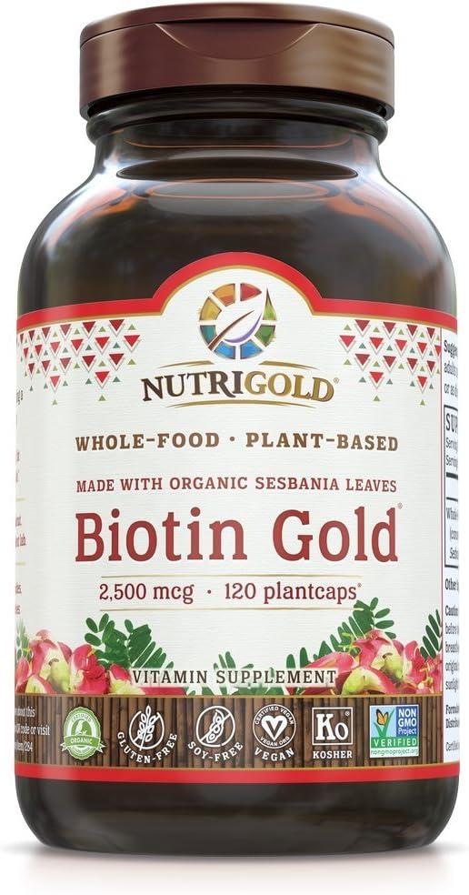 Nutrigold Whole-Food Biotin Gold, 2, 500 Mcg, 120 Plantcaps, 8.8 Ounces