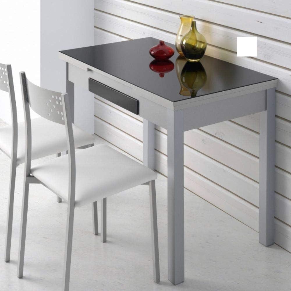 MOMMA HOME Mesa Extensible - Modelo Tetra - Color Negro/Plata - Material Cristal Templado/MDF - Medidas 100/160 x 60 x 77 cm