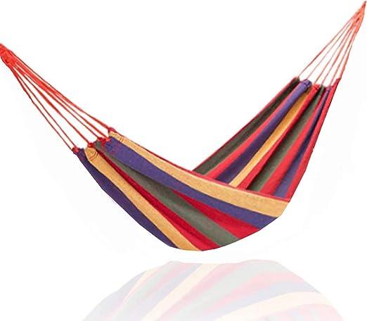 TEKSHOPPING Hamaca colgante de jardín, camping, senderismo y actividades al aire libre Medidas 260 cm x 80 cm con peso total 150kg máx., Verde: Amazon.es: Jardín