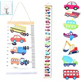 JJGoo Baby Kids Growth Chart Hanging Ruler Wall Decor, Wood Fabric Canvas Removable Height Measurement Ruler Wall Height Grow