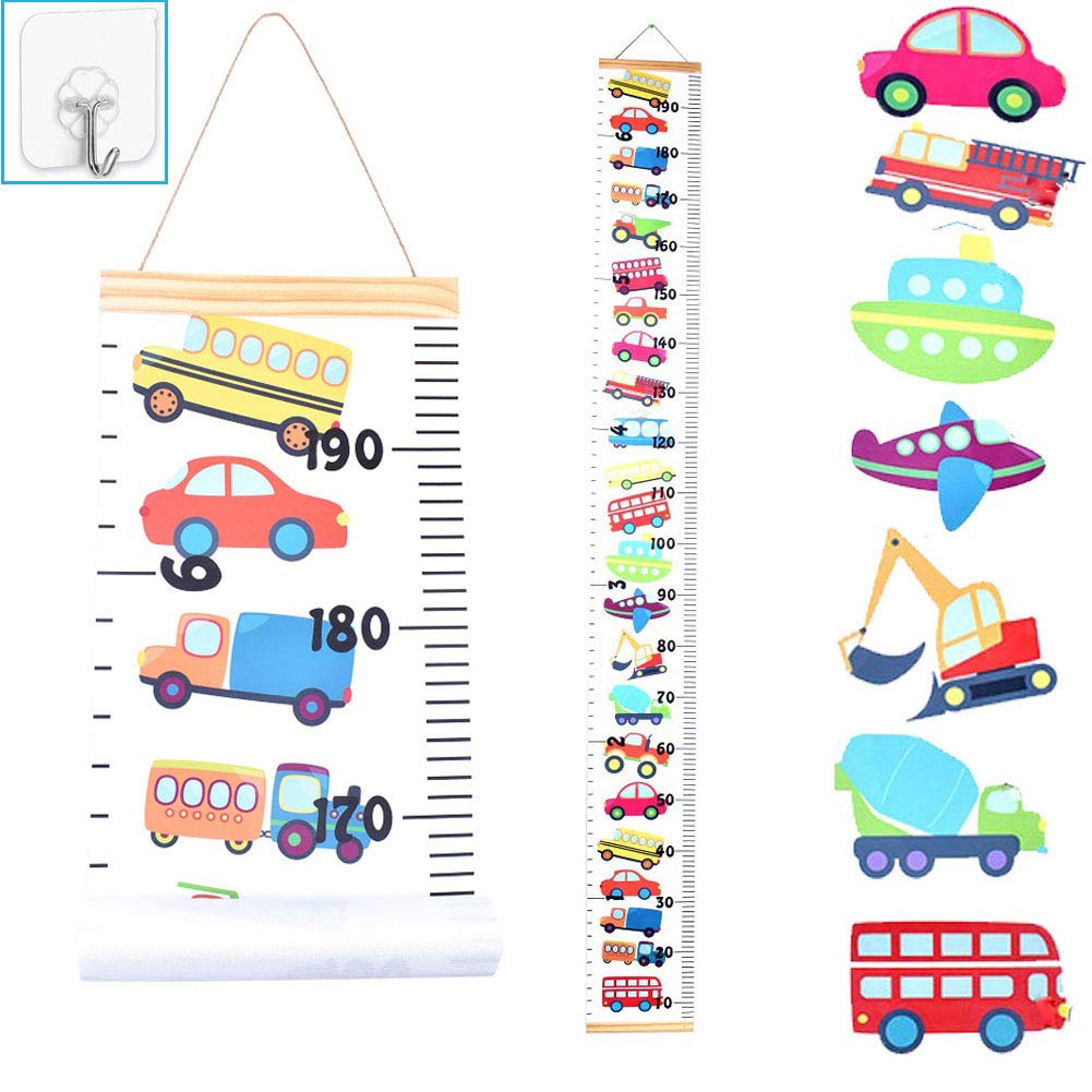 JJGoo Baby Kids Growth Chart Hanging Ruler Wall Decor, Wood Fabric Canvas Removable Height Measurement Ruler Wall Height Growth Chart Decal for Boys Toddlers Babies (Trucks)