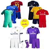 1PC Jersey with shorts Football Club Soccer Kit with free one pair of Football Stockings team Jersey sets new (Assorted Designs) 1 Set offer