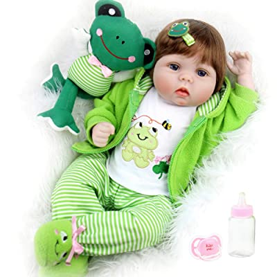 Aori Reborn Baby Dolls 22 inch,Realistic Handmade Reborn Girl Dolls with Frog Gifts,Soft Vinyl Kids Toys Age 3+, EN71 Certification: Toys & Games