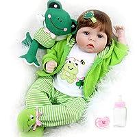 Aori Reborn Baby Dolls 22 inch,Realistic Handmade Reborn Girl Dolls with Frog Gifts,Soft Vinyl Kids Toys Age 3+, EN71 Certification