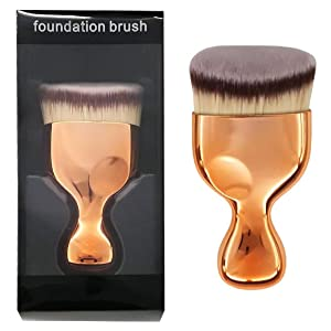OUO Kabuki Foundation Brush, Flat Top Powder Makeup Brush, Premium Quality Synthetic Dense Bristles Face Make Up Tool For Blending Liquid Cream or Flawless Powder Cosmetics - Buffing, Stippling
