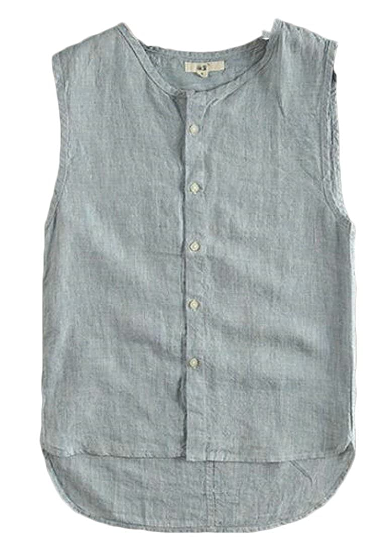 Valoda Men Basic Sleeveless Linen Breathable Summer Loose Fit Button up Tank Top