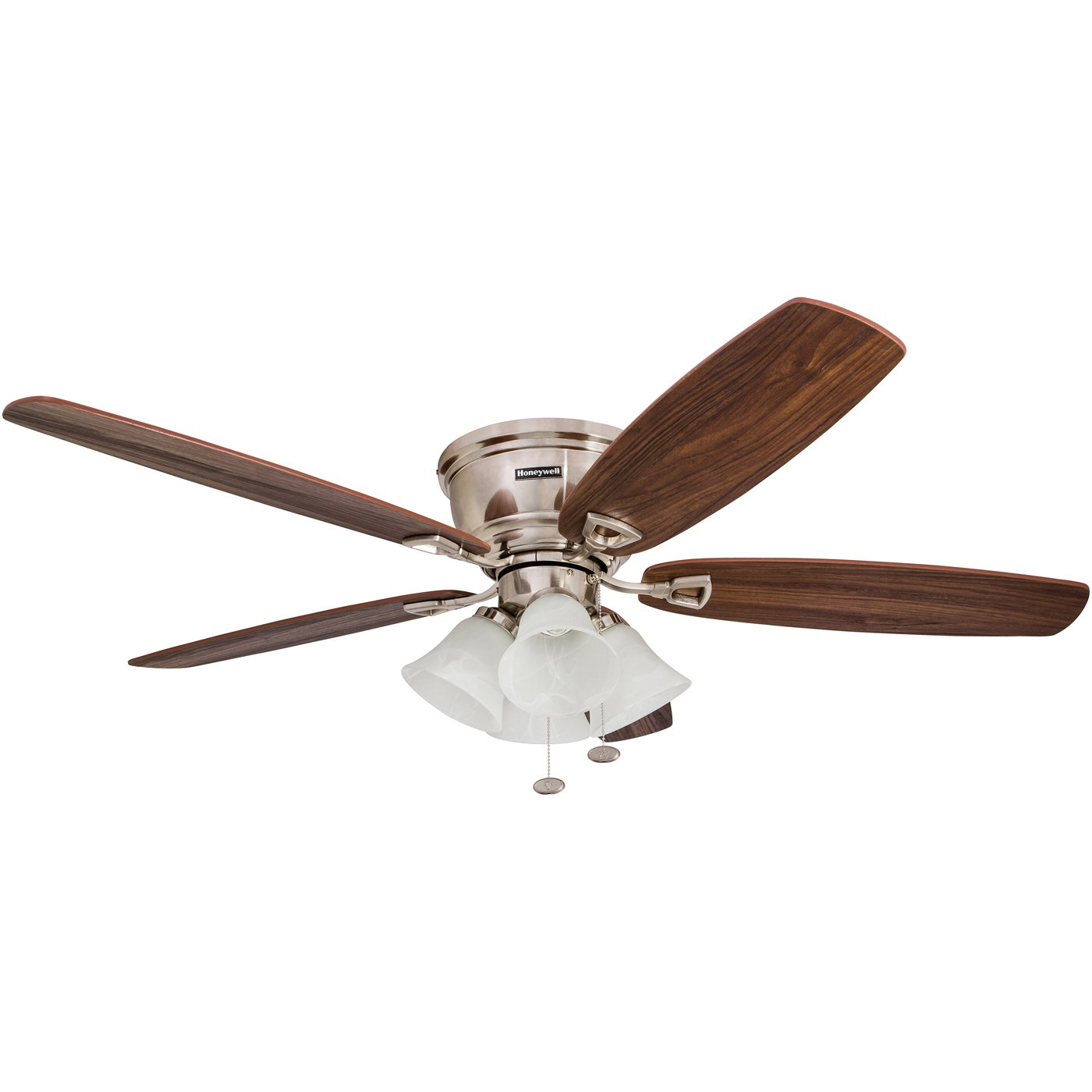 Honeywell Glen Alden 52-Inch Ceiling Fan with 4 Frosted Swirled Glass Shades, Hugger/Flush Mount, Low Profile, Five Reversible Cimarron/Walnut Blades, Brushed Nickel