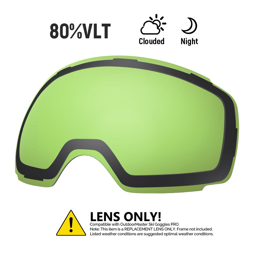 OutdoorMaster Ski Goggles PRO Replacement Lens - 20+ Different Colors ( VLT 80% L.Green Lens with Free Carrying Pouch ) by OutdoorMaster