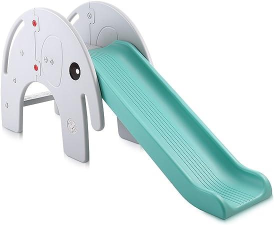 Baby Vivo Tobogán Parque para Infantil Niños Recto Diapositiva Interior y Aire Libre Juguetes Jardín Elefante en Turquesa / Gris: Amazon.es: Hogar