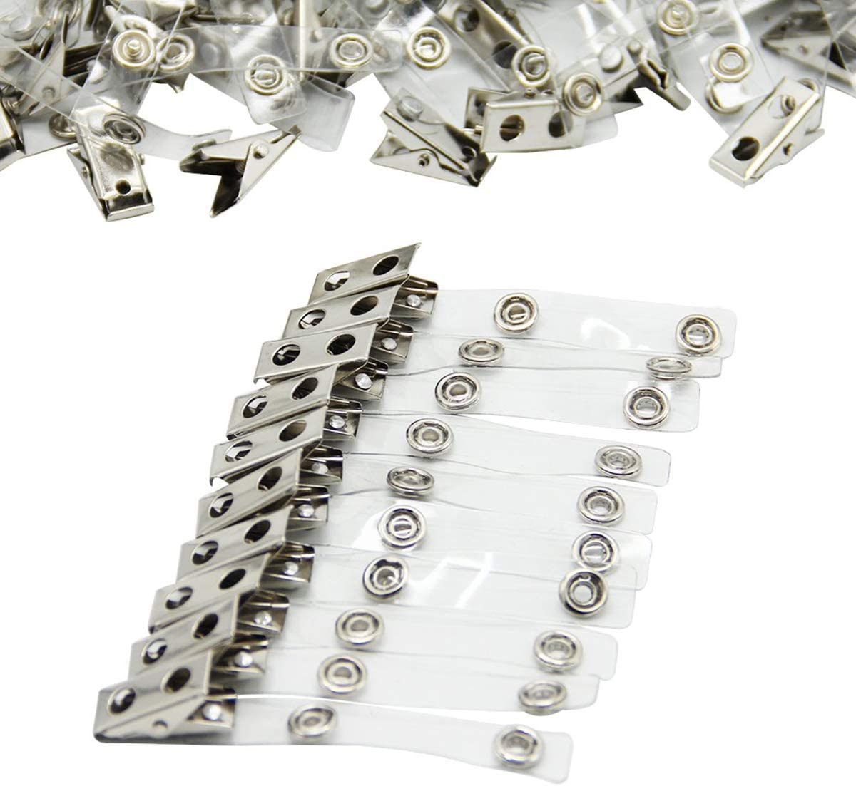 100//Pack Metal Badge Clips Double Hole Badge Clips PVC Straps Clear Plastic