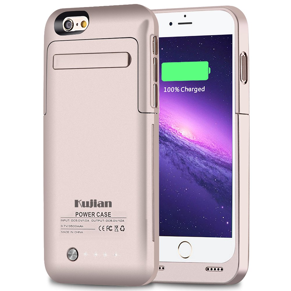 iPhone 6 Battery Case Kujian External Battery Backup Charger Case 3500mAh with Kickstand for iPhone 6/6S (Gold)