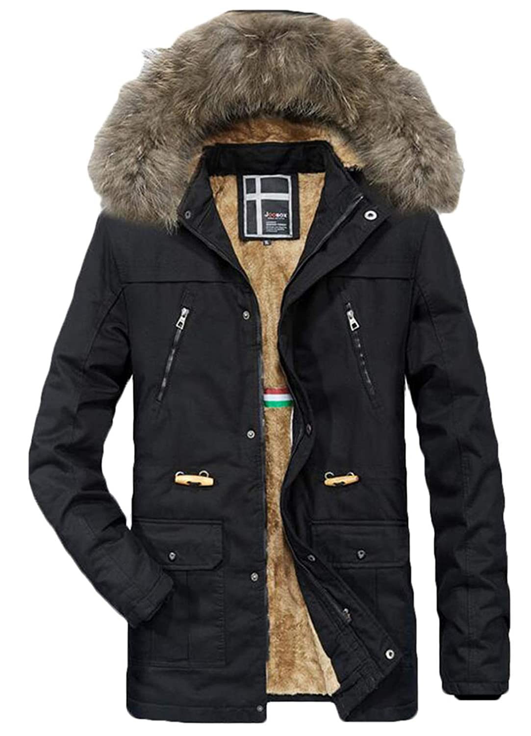 X-Future Mens Warm Thicken Winter Fleece Lined Faux Fur Collar Hooded Jacket Outwear