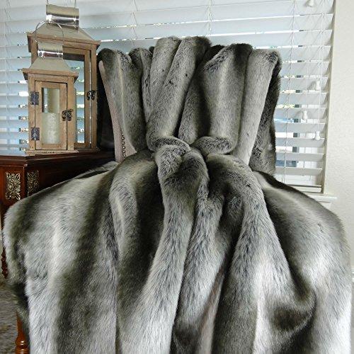 Exotic Gray Chinchilla Faux Fur Throw Blanket & Bedspread...