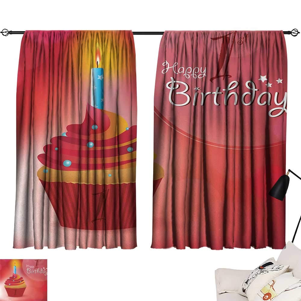 Jinguizi 1st Birthday Set of 2 Panels Abstract Background with Sunbeams and Party Cupcake Candlestick Image reducing Noise Darkening Curtains Orange and Red W55 x L39