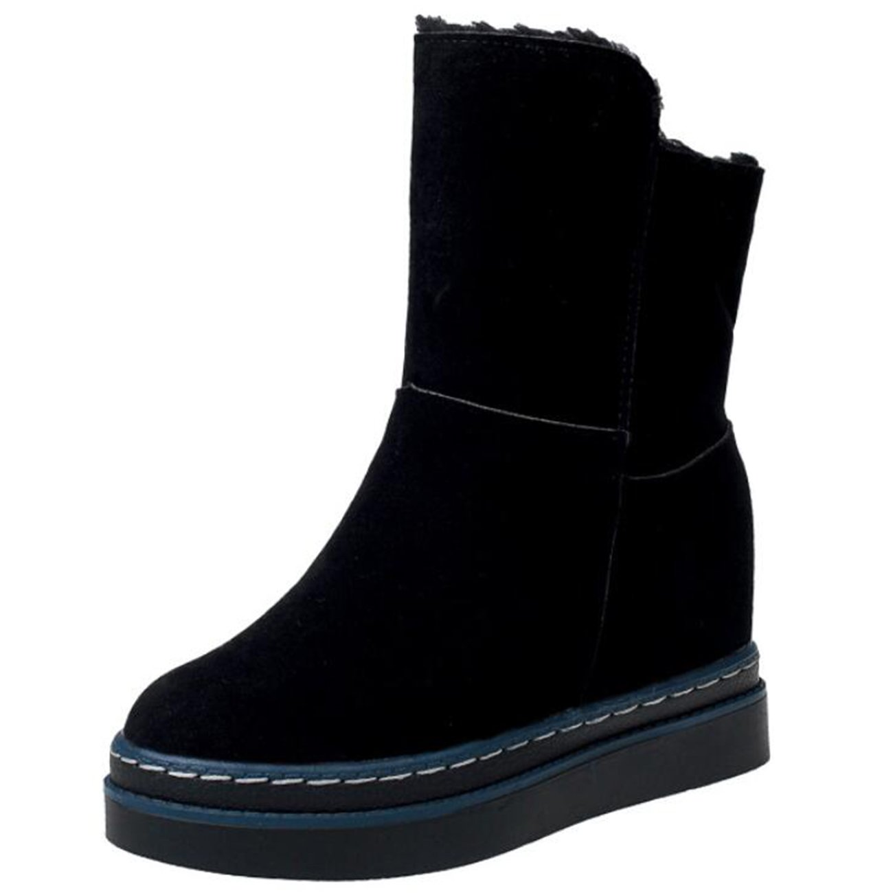 Mashiaoyi Womens Inner-Increaser Thick-Heel Slip-On Suede Snow Boots