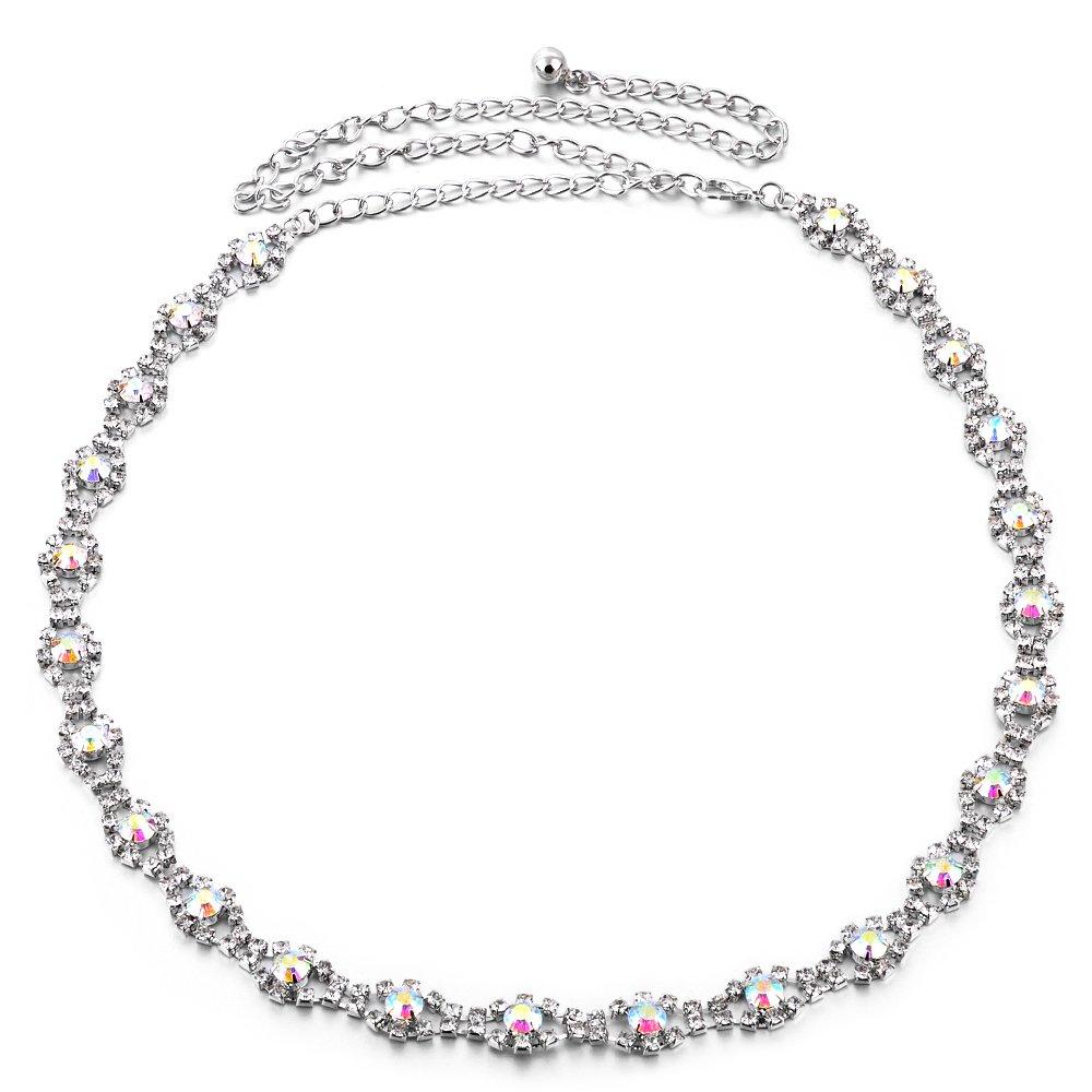 Weddecor 112cm (44 Inch) Silver Chain Waist Belt for Women Ladies Stylish Clasp with AB Diamond Rhinestone Design 743- Accessory for Fashionable Casual and Formal Wear