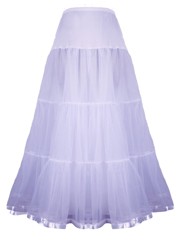 Shimaly Women's Floor Length Wedding Petticoat Long Underskirt for Formal Dress (XL-3XL, White)
