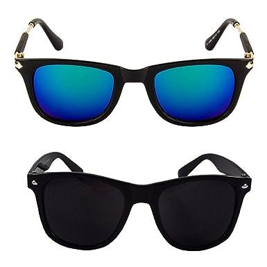 56fde80f69 Xforia Wayfarer Black Square Sunglasses Combo For Men   Women (ack of 2)   Amazon.in  Clothing   Accessories