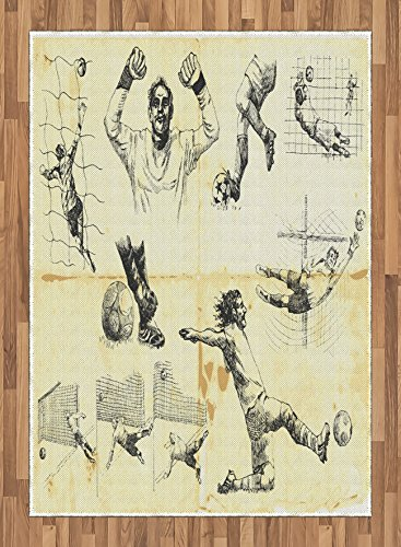 Soccer Area Rug by Ambesonne, Collection of Different Soccer Player and Goalkeeper Positions Theme Sketch Art, Flat Woven Accent Rug for Living Room Bedroom Dining Room, 5.2 x 7.5 FT, Yellow Black by Ambesonne