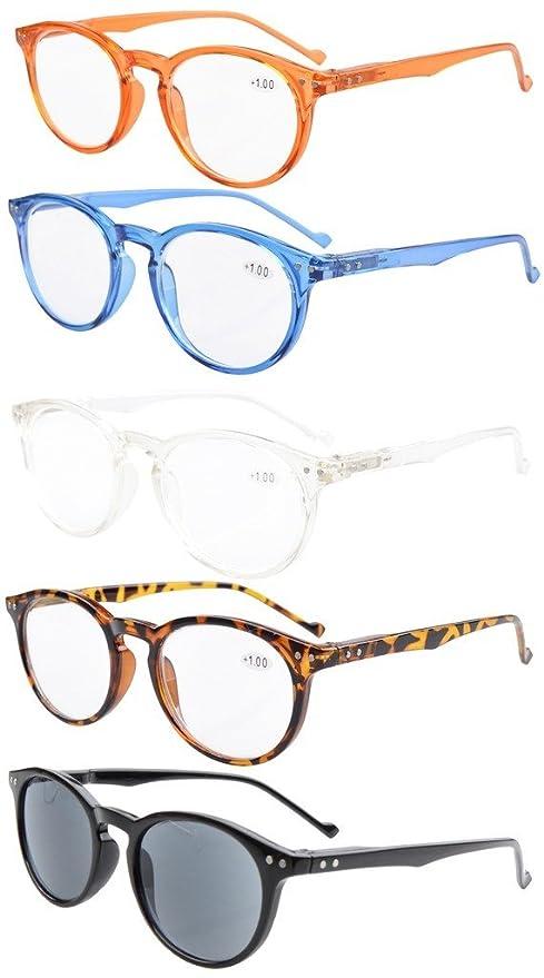 Eyekepper 5-Pack gafas de sol de lectura Ovalo Redondo bisagras de resorte +0.75