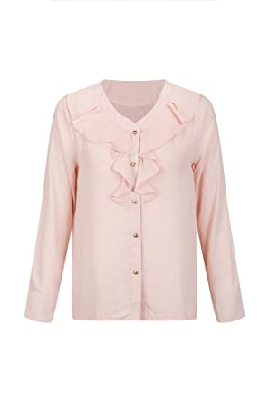 b59135c34ab0 Image Unavailable. Image not available for. Color: Bewish Women's Elegant V  Neck Long Sleeve Ruffle Decoration Button Tops ...