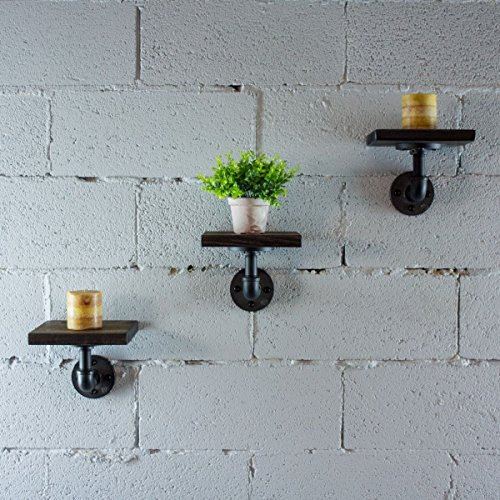 Furniture Pipeline 3 Piece Ames Industrial Vintage 8-Inch Decorative Wall Mount Floating Pipe Shelf Metal And Reclaimed Aged Finish With Solid Sustainable Wood (Dark Brown Stained Wood)