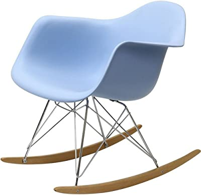 Plastic Rocking Chair with Wooden Base Blue Mid-Century Modern Retro Comfy Sturdy Lounge Rocker Accent Armchair for Living Room eBook by Easy&FunDeals