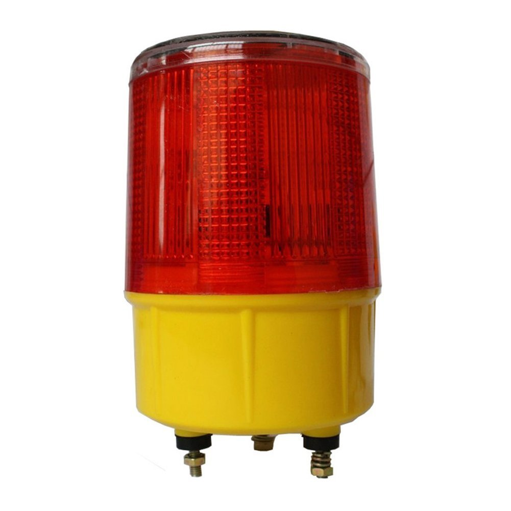 DE-Spark Emergency LED Solar Powered Strobe Warning Light, Road Construction Cone Traffic Light Flicker Beacon Lamp (Triangle Base)
