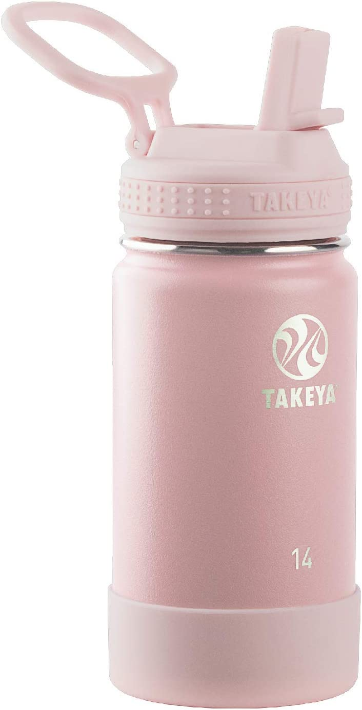 Takeya Kids Insulated Water Bottle w/Straw Lid, 14 Ounce, Blush