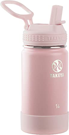 Takeya Kids Insulated Water Bottle w/Straw Lid, 14 Ounces, Blush