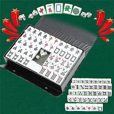 SISHUINIANHUA Entretenimiento Diversión Familiar Juegos de Mesa Gfits Top 144 Azulejos portátil del Juego Chino Raro Mahjong Mahjong el Sistema Retro + Custom Fit Box: Amazon.es: Hogar