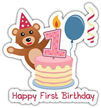 amazon com skylabel first birthday teddy bear bumper sticker vinyl rh amazon com Teddy Bear Baby Clip Art Teddy Bear Outline