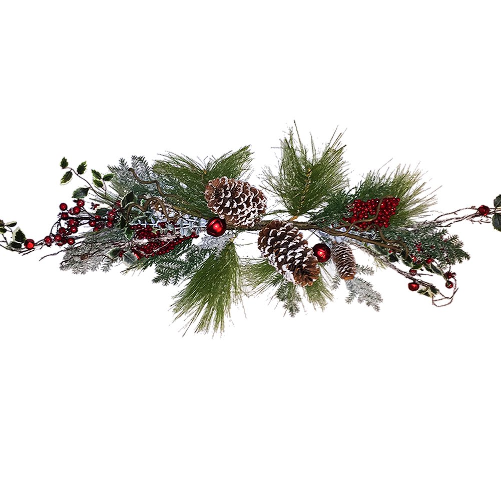 Christmas Garland Swag 36 Inch Long Needle-Cones-Red Bell Ornaments