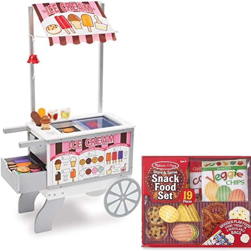 Melissa & Doug Wooden Snacks and Sweets Food Cart - 40+ Play Food pcs, Reversible Awning Bundled Store & Serve Snack Food Set Play