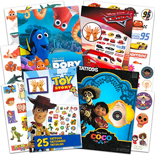 Disney Pixar Tattoos Party Favor Bundle Set for Kids ~ 100 Temporary Tattoos Featuring Toy Story, Disney Cars, Coco, and More (Assorted Temporary Tattoos for Kids)