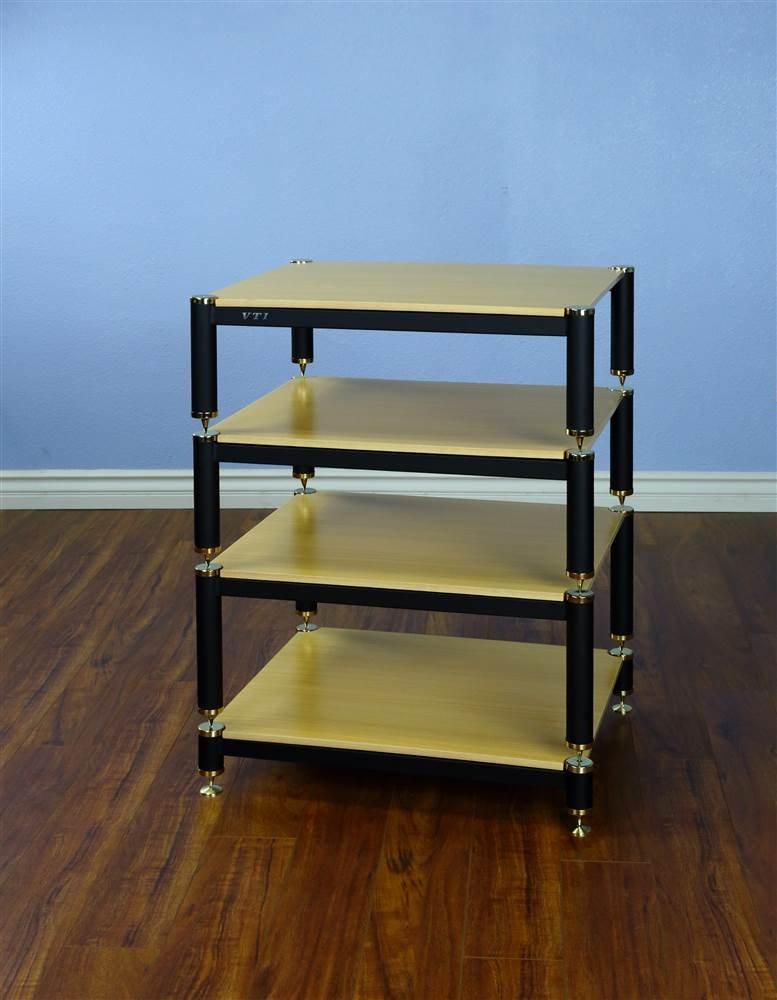 BL Series 4-Shelf Audio Rack 9'', 7'', 7'' Spacing Shelves: Oak, Poles/Caps: Black Poles/Gold Caps